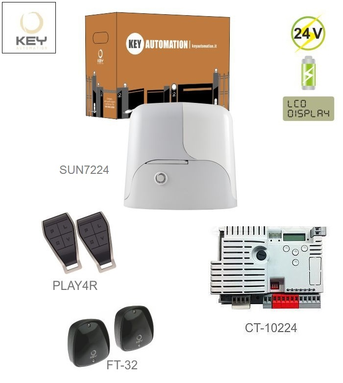 KEY SUN7224-E 1x SUN7224 (24V, 500W, 34Nm), 1x CT-10224, 2x PLAY4R, 1 pár, FT-32
