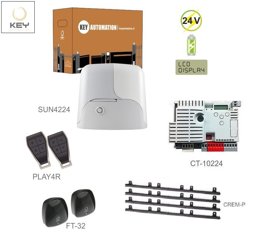 KEY SUN4224-EH1x SUN4224(24V,250W,13Nm),1x CT-10224,2x PLAY4R,1 pár FT-32,4xCREM