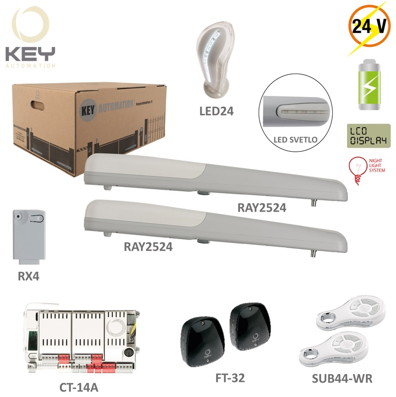 KEY RAY 2524 K, 2x pohon 24V, 85W, 1500N 2x SUB-44WR,1x 1x CT-14AB2,1x RX4,1pár FT-32,1x LED24