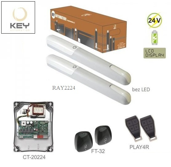 KEY RAY2224KR, 2x RAY2224 bez LED (24V, 85W, 1500N), 1x CT-20224 so zabudovaným